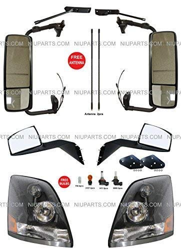 - Door Mirror Power Heated Gloss Black with Arm & Hood Mirror Black with Mounting Kits & Headlight Black - Driver & Passenger Side (Fit: Volvo VNL 670 780 630 730 Trucks)