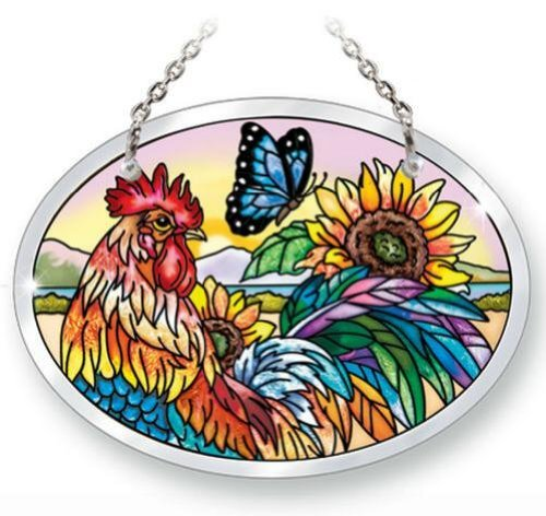 Hand Painted Rooster Design - Amia 41744 Small Oval Suncatcher Hand-Painted Glass, 4-3/4 by 3-1/2-Inch, Rooster Design