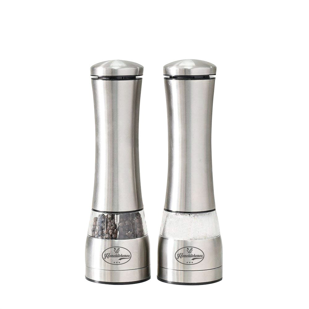 Homekitchenco Electric Salt and Pepper Grinders - Battery Operated, Stainless Steel with Ceramic Mill and Led Light (Pack of 1) - Easy adjust grinder coarseness, powerful motor for rock salt