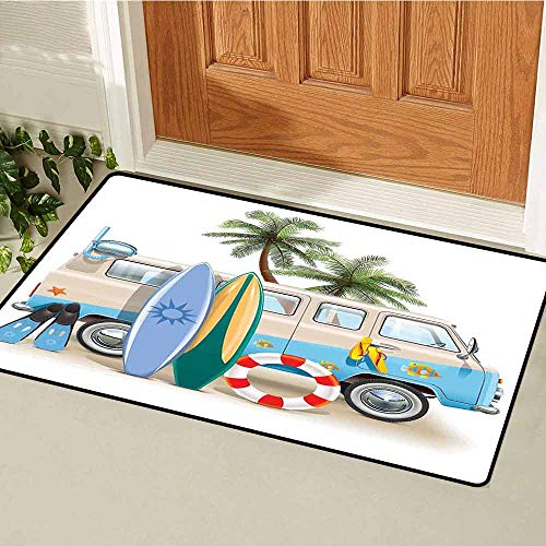 Gloria Johnson Surf Commercial Grade Entrance mat Surfing Weekend Concept with Diving Elements Fins Snorkeling and Van Trip Relax Peace for entrances garages patios W15.7 x L23.6 Inch Multicolor (Best Weekend Trips From Sf)