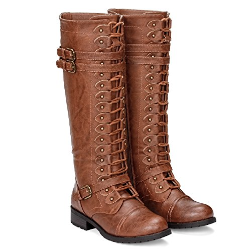 ILLUDE Womens Knee High Lace up Buckle Military Combat Boots (7.5, - Boot Knee Leather Buckle