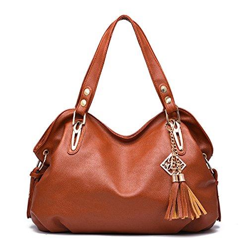 RUIREN Multifunción Soft Bag Portable Shoulder Bag Mujeres Messenger Bags Mujeres Bolso Shoulder Bag Marrón