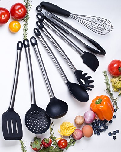 Gadgets Silicone (The Gadgets Queen- 8 Best Silicone Kitchen Utensils-Non Stick Silicone Stainless steel Cooking Set- Serving Tongs, Pasta Server,Ladle, Strainer, Whisk,Spatula Tools)