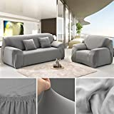 ANJUREN Polyester Spandex Fabric 1-Piece Stretch Slipcover For Chair Loveseat Sofa Without Pillow (Love seat, Gray)