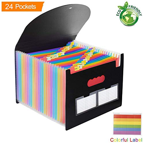 Cabinet Full Size Office - 24 Pockets Expanding File Folder with Cover - Expandable Accordion File Organizer Portable Plastic Multi-Colour Large Capacity Document Holder A4/Size Letter Paper for Business/Office