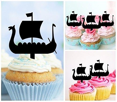 TA0208 Viking Ship Silhouette Party Wedding Birthday Acrylic Cupcake Toppers Decor 10 pcs