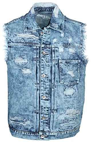 9 Crowns H&W Men's Distressed Denim Vest Essentials-Light Indigo-Small