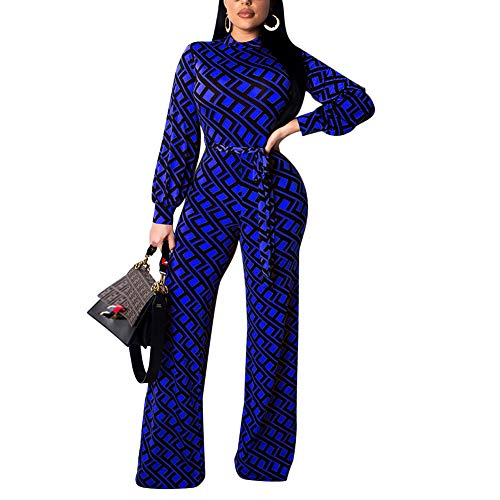 Kafiloe Womens Long Sleeve Print Bodycon Flare Bell Bottom Pants Party Jumpsuit Rompers with Belt Blue ()