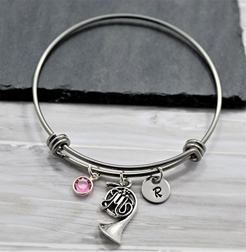 French Horn Charm Bracelet - French Horn Jewelry - Personalized Birthstone & Initial - Fast Shipping