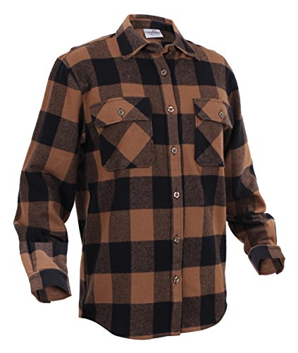 Heavy Weight Plaid Flannel Shirt, Brown, X-Large