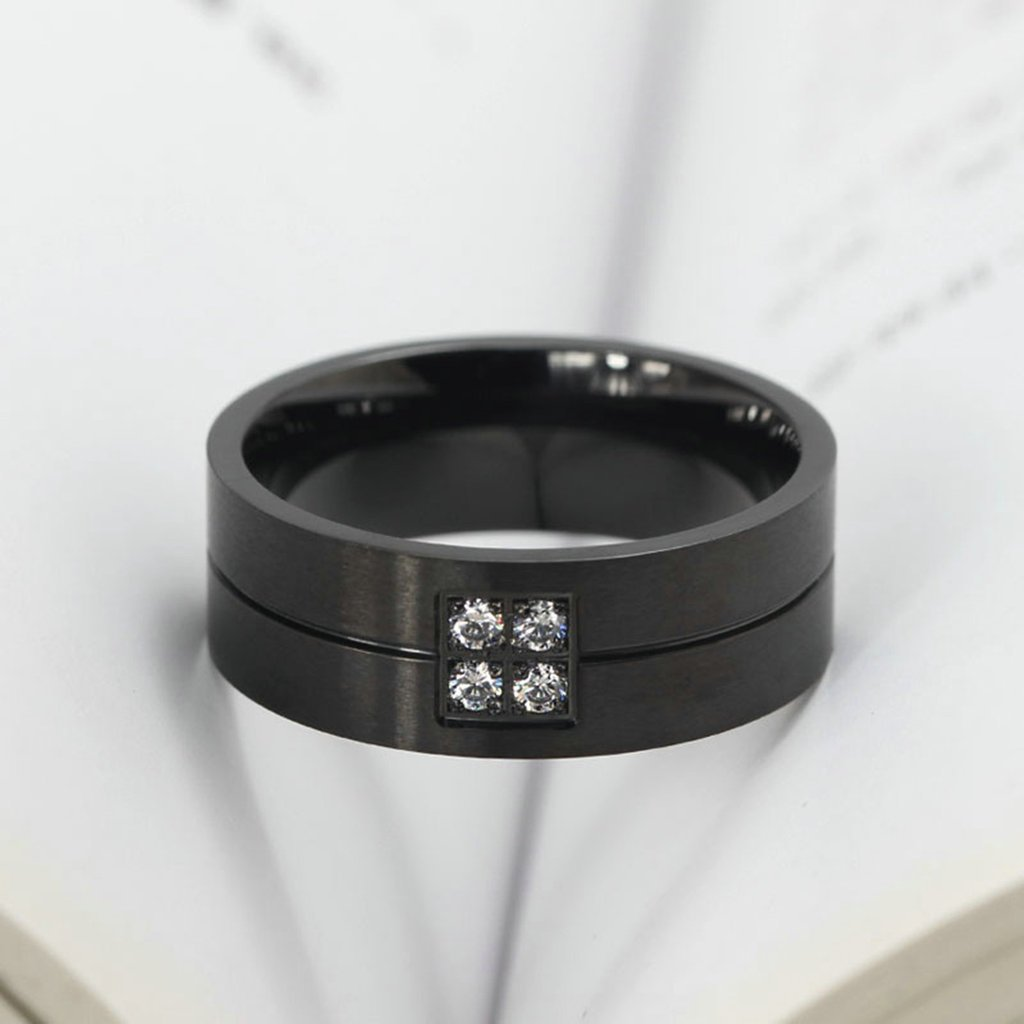 Gnzoe Jewelry Stainless Steel Ring Inlaid CZ Width 8MM Wedding Bands For His Her