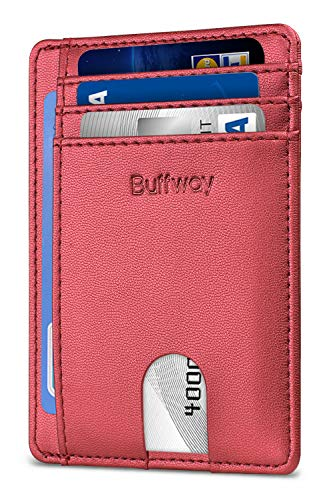 Slim Minimalist Leather Wallets for Men & Women -Sand Rose Gold (Best Rfid Protection Sleeves)
