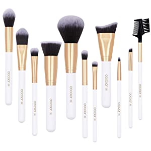 Docolor 11 Pcs Makeup Brushes Set Premium Synthetic Hair Golden Starlight and Stripe Printed Foundation Blending Blush Face Eyeliner Shadow Brow Concealer Lip Beauty Collection Cosmetic Brush (White)
