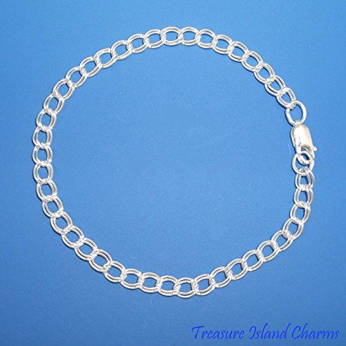7'' 4mm Double Link Solid .925 Traditional Charm Bracelet 7' Double Link Charm Bracelet