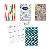 4 Count Weekly Planners 2019 Hardback Tabbed Planners with Perforated Tabs, Pages for Contacts Plus More