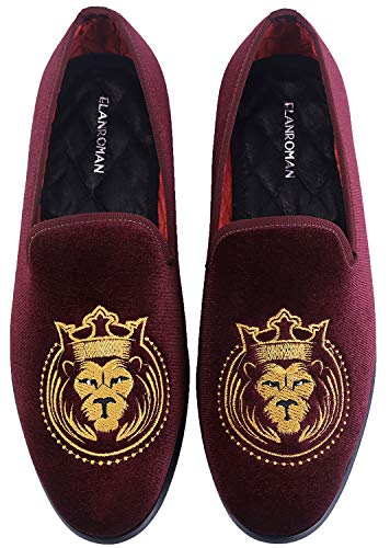 ELANROMAN Dress Loafers Men Velvet Shoes with Tiger Pattern Smoking Slippers Slip on Penny Party Luxury Fashion Loafer Shoes for Men Wine US 14 EUR 48 Feet Lenght 315mm ()
