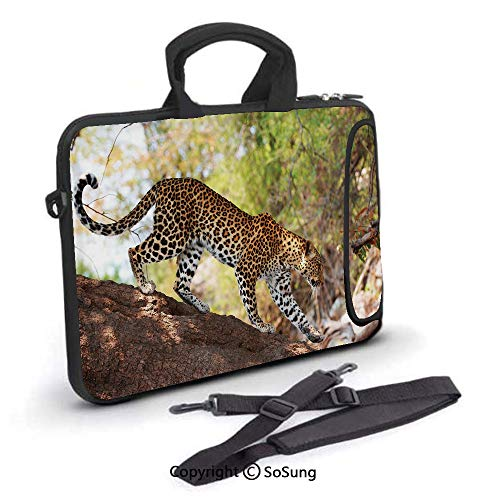 - 13 inch Laptop Case,Leopard Panthera Pantus on Tree Nature Reserve Botswana Carnivore Animal Decorative Neoprene Laptop Shoulder Bag Sleeve Case with Handle and Carrying & External Side Pocket,for Net
