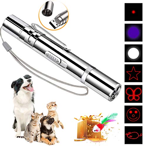 DMY Cat Toys Interactive-7 in 1 Function Chaser Toy-USB Rechargeable-Multi Pattern Funny & Mini Flashlight Interactive LED Light Entertain Training Tool for pet 2