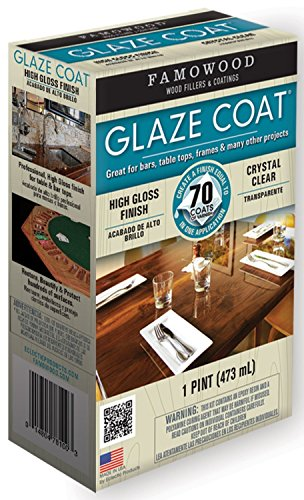 Famowood 5050060 1 Pint Crystal Clear Glaze Coat® High Gloss Epoxy Coating Crystal Clear Glaze