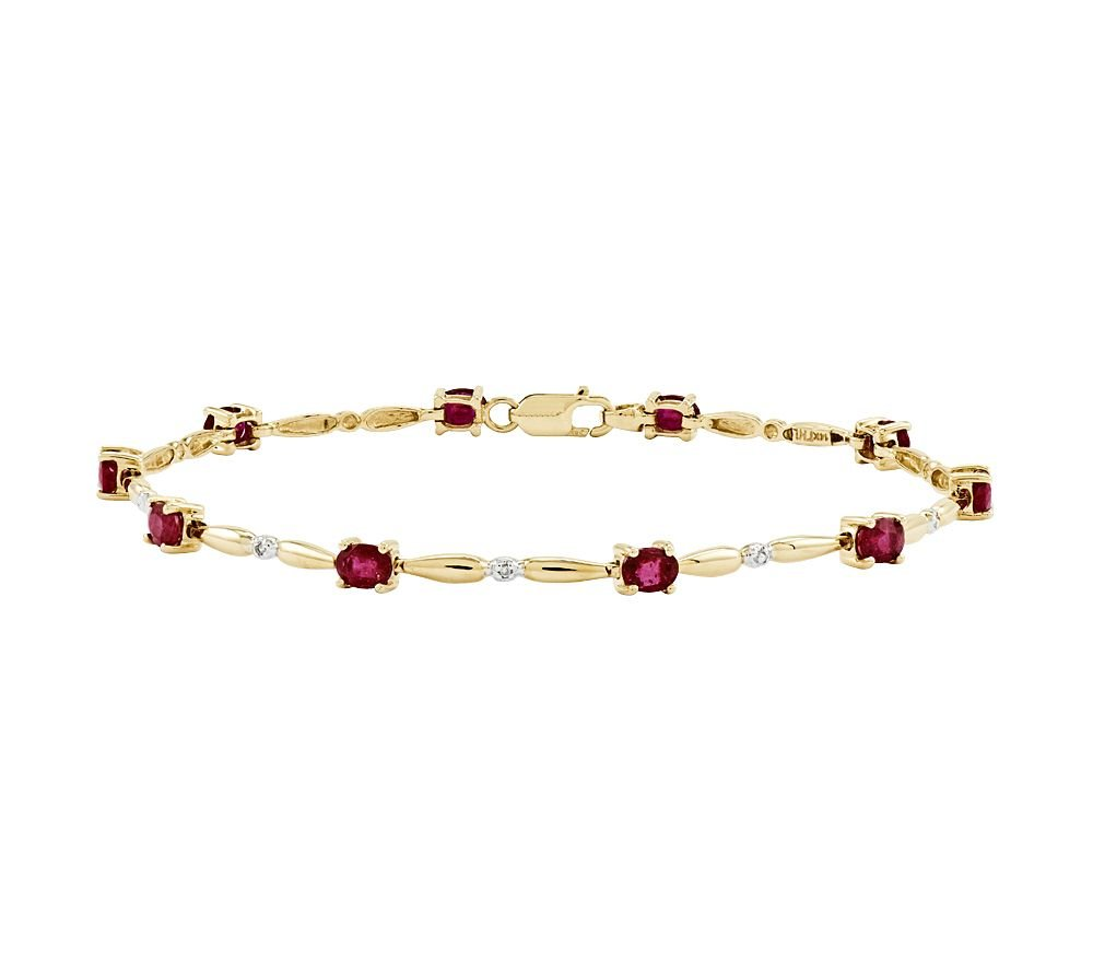 Smjewels 2.20 Ct Oval Ruby w/ CZ Diamond Accent Tennis Bracelet, 14K Yellow Gold Plated