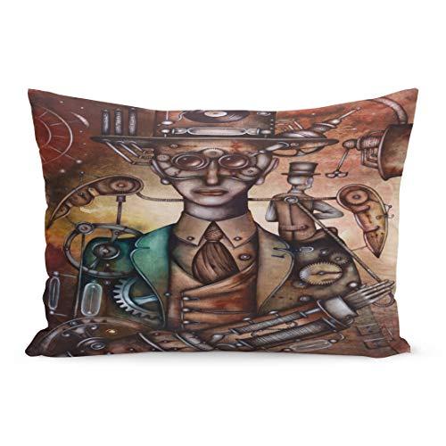 Semtomn Throw Pillow Covers Carnival Steampunk Man Mask Masquerade Vintage Cinema Costume Pillow Case Cushion Cover Lumbar Pillowcase Decoration for Couch Sofa Bedding Car 20 x 26 inchs ()