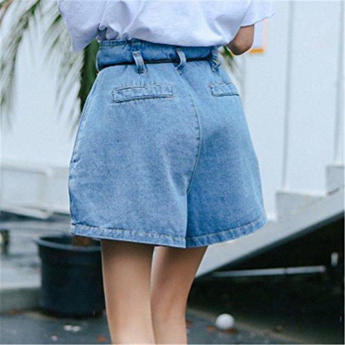 en Grande Chic Shorts Court Taille Taille Denim Haute avec Corde Femme Bule Jeans FuweiEncore gxH4Ex