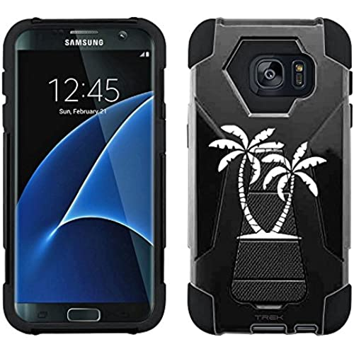 Samsung Galaxy S7 Edge Hybrid Case Silhouette Tropical Palm Trees on Black 2 Piece Style Silicone Case Cover with Sales