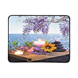 WHIOFE Massage Stones with Candles Daisy and Wisteria Pattern Portable and Foldable Blanket Mat 60x78 Inch Handy Mat for Camping Picnic Beach Indoor Outdoor Travel