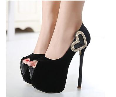 Xianshu Nubuck Leder Love diamant Wasserdichte High Heel Fisch Mund Schuhe(Rose-34) PNy32SoFM