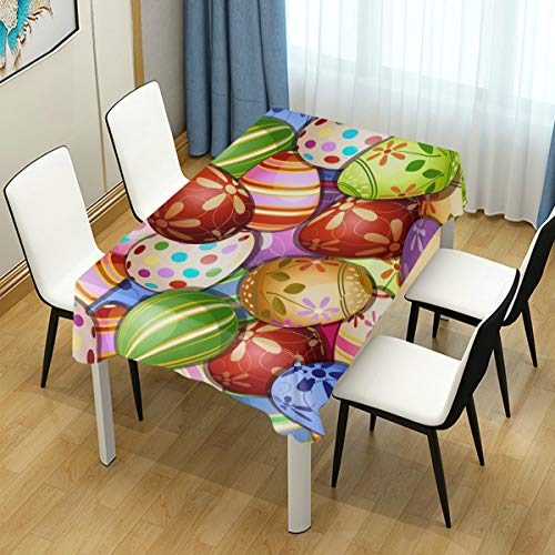 (Naanle Colorful Easter Eggs Square Tablecloth 60