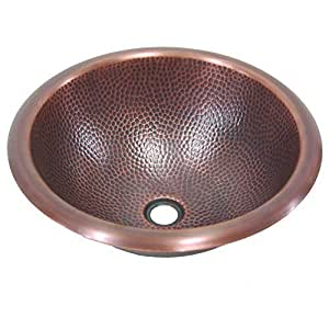 Yosemite Home Decor CSB1225 16-Gauge Pin Hammered Topmount Round Vessel Sink, 15-3/4-by-15-3/4-by-6-Inch, Solid Copper by Yosemite Home Decor