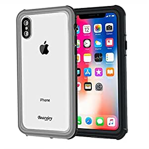 iPhone X Waterproof Case Support Wireless Charging,Beasyjoy iPhone x Cover with Bulit in Screen Full Body Protective, Shockpooof Dropproof Dustproof,Hard Strong Durable Defender for Outdoor Sports
