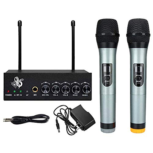 Microphone System VHF Wireless Bluetooth Wireless Microphone Singing Machine Dual Channel Handheld Independent Volume Controls for Smart Phone/iPad/PC/TV/Tablet (Black)