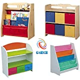 G4RCE Childrens/Kids Multi Use Toys Cabinet Storage Bookcase Organizer Rack Unit Shelf Canvas Drawers For Kids Toys Tidy Bedroom/Playroom (Toy Storage Rack 2)
