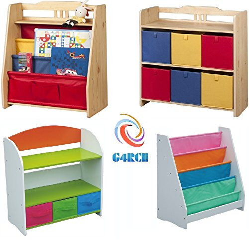 G4RCE Childrens/Kids Multi Use Toys Cabinet Storage Bookcase Organizer Rack Unit Shelf Canvas Drawers Kids Toys Tidy Bedroom/Playroom (Toy Storage Rack 2)
