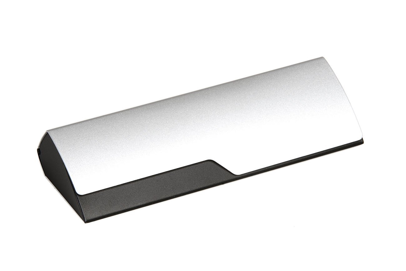 Aluminum Eyeglass Case for Small to Medium Frames in Black/Silver by Ear Mitts