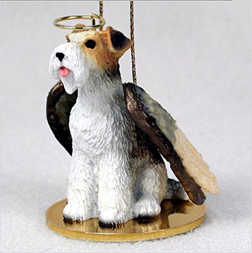 Angel Hair Wire - Ky & Co YesKela Fox Terrier Dog Figurine Ornament Angel Statue Hand Painted Wire Hair