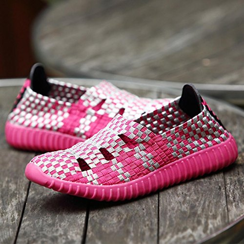HLHN Women Loafer Shoes,Woven Hollow Flat Running Sports Gym Breathable Sneakers Round Toe Fashion Casual Lady Hot Pink