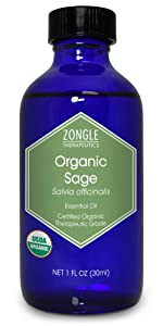 Zongle USDA Certified Organic Sage Essential Oil, Spain, Salvia Officinalis, 1 OZ