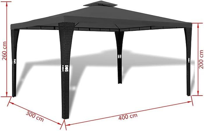 vidaXL Cenador de Jardín Ratán Sintético Negro Toldo Gris 3x4 m Carpa Pérgola: Amazon.es: Hogar