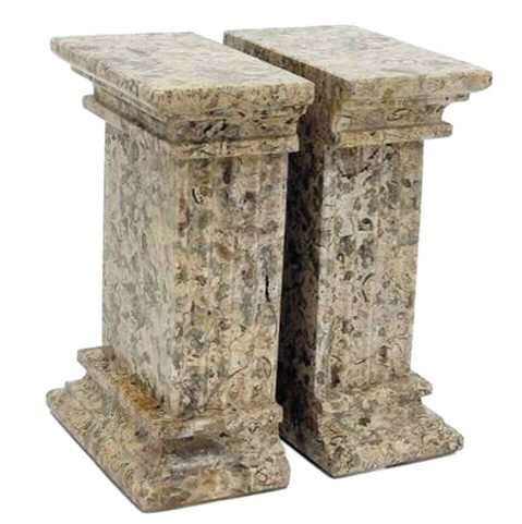 Khan Imports Decorative Stone Bookends, Heavy Marble Office Bookends - Extra Large (Column Marble Bookends)