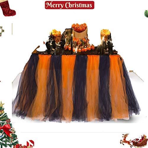 Christnas Table Skirt Luau Table Skirt Tutu Tulle Tablecover Tableware, Table Cloth for Party Christnas Bar -