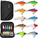 PLUSINNO Fishing Lures, 10 Pack Hard Baits Minnow VIB Lure Crankbait Kit with Free Carry Bag for Bass Trout Walleye Redfish
