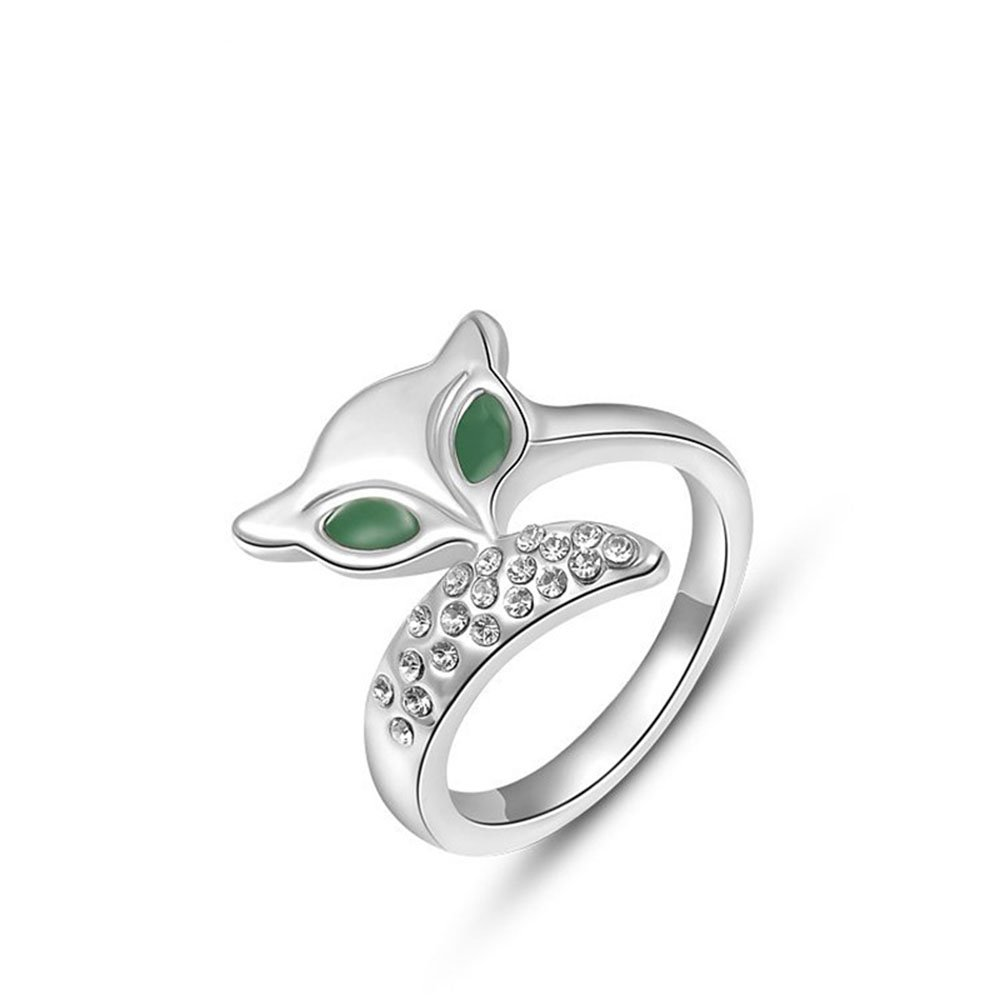Winter.Z Noble and Elegant Ladies Jewelry Popular Explosion Models Austria Crystal Platinum Green Eye Fox Ring Wedding 414275a