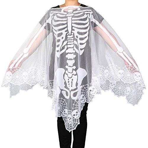 PartyTalk Halloween Poncho White Lace Skeleton Poncho for Women, Day of The Dead Costume 60 x 60 Inch