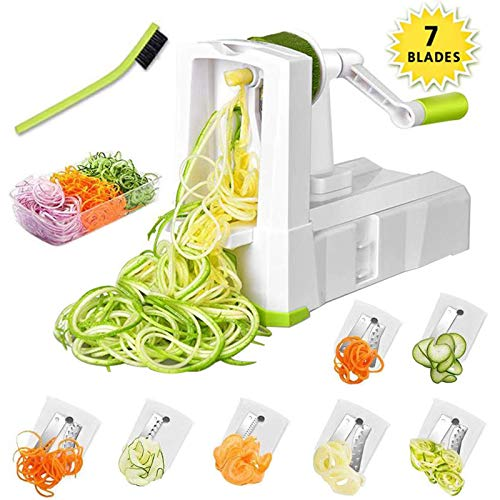 7-Blade Spiralizer Vegetable Slicer, Vegetable Spiralizer Chopper Plus Free Brash&Container &Lid with 7/420-grade Blade, Powerful Anti-Slip Sucker Spiral Slicer for Zucchini Noodles&Veggie Pasta Maker