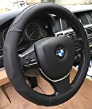 ANDALUS Car Steering Wheel Cover, Microfiber Leather, Universal 15 inch (Black)