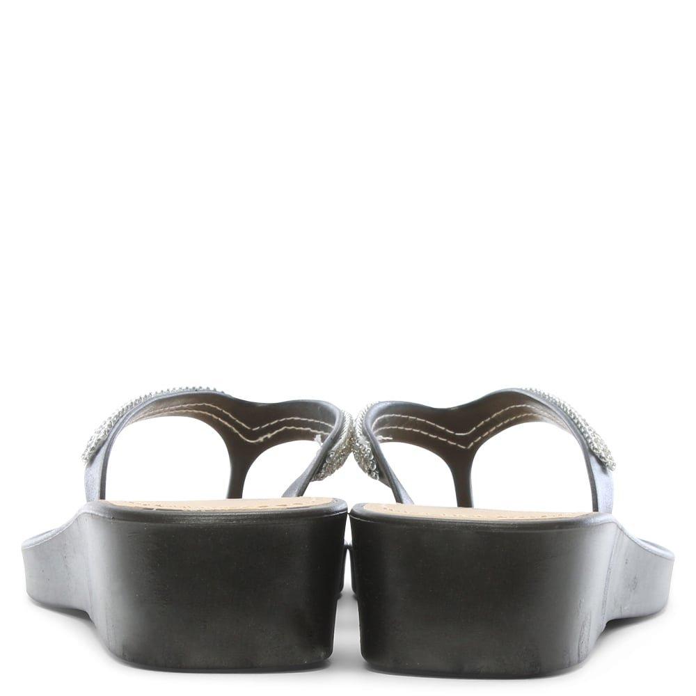 0854485ea DF By Daniel Sunny Black Crystal Toe Post Wedge Flip Flops  Amazon.co.uk   Shoes   Bags