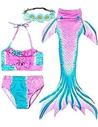 f99df5c9f35f1 Garlagy 3 Pcs Girls Swimsuit Mermaid Tails for Swimming Princess Bikini  Bathing Suit Set Can Add