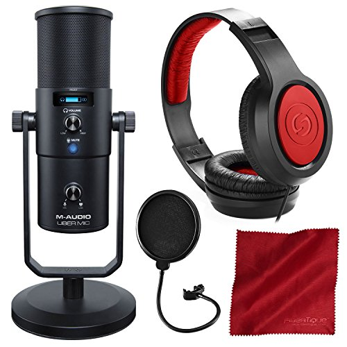 (M-Audio Uber Mic USB Microphone with Headphone Output with Samson Headphones and Accessory Bundle)